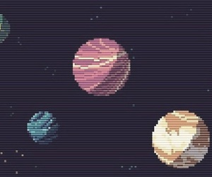 pixel and planets image
