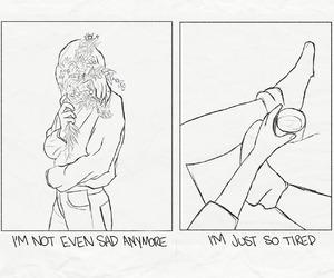 art, sad, and drawings image