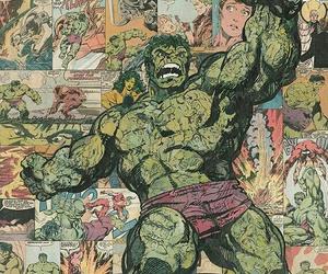 cartoon, comic, and Hulk image