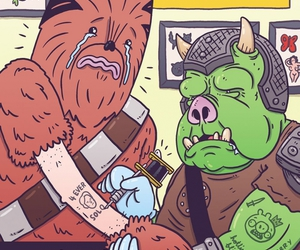 chewie, han solo, and star wars image
