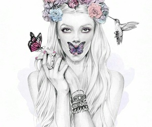 butterfly, flowers, and art image