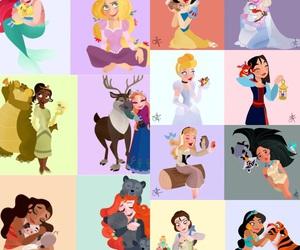 art, disney princesses, and friends image