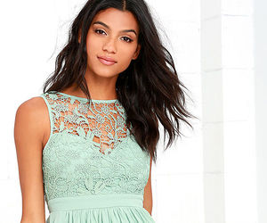 green, lace dress, and dress image