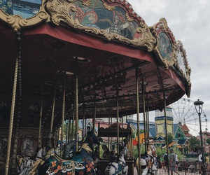 carousel, childhood, and fun image