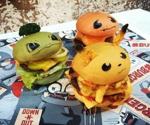 food, burger, and pokemon image