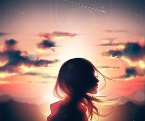 girl, anime, and sky image