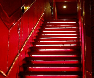 red, architecture, and neon image