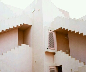 pink, architecture, and stairs image
