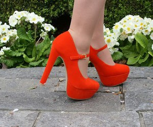 shoes, orange, and high heels image