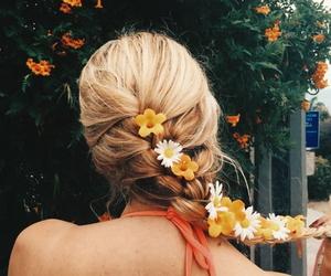 flowers, hair, and braid image