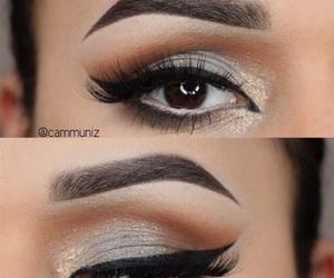 eyes, make up, and gold image