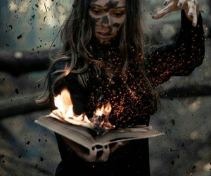 fire, book, and magic image