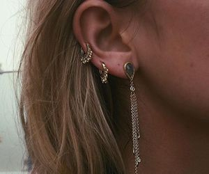 boho, earrings, and gold image