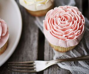 cupcake, food, and rose image