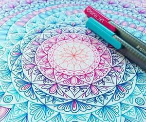 art, mandala, and blue image