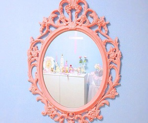 mirror, pink, and blue image