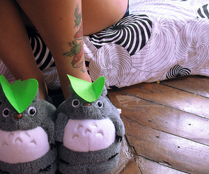 girl, tattoo, and slippers image