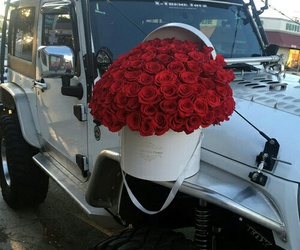 jeep, flowers, and roses image