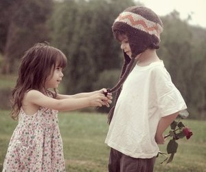 child, rose, and young love image