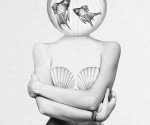 art, black&white, and mermaid image