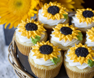 cupcake, sunflower, and food image