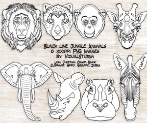 black and white, etsy, and animal clip art image