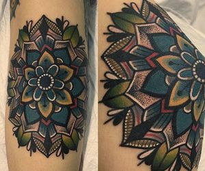 girl tattoo, design, and flower image