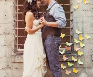 couple, love, and butterfly image