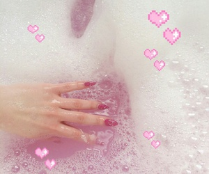 bath, water, and pink image