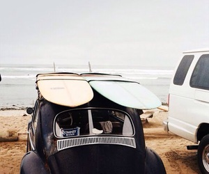 beach, car, and surf image