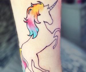unicorn, tattoo, and colorful image
