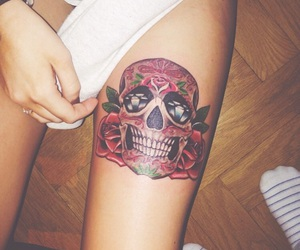 beautiful, girls, and skull image