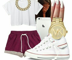 gold chains, white crop t-shirts, and white converse image