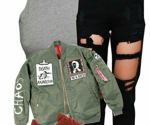 black ripped jeans, green bomber jackets, and grey crop tank top image