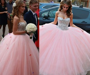 long prom dress, pink prom dress, and ball gown dress image