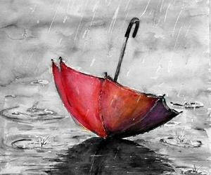 cat, drawing, and rain image