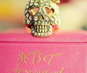 betsey johnson, jewelry, and skull image