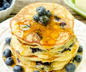 blueberry, pancakes, and breakfast image