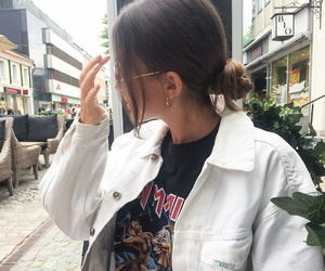 denim jacket, gold hoops, and black graphic t-shirts image