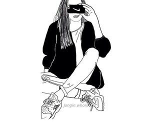 outline, girl, and nike image