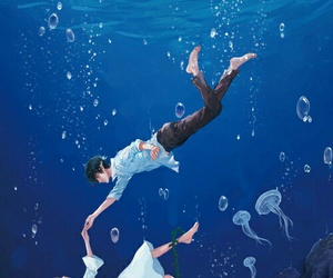 anime, ocean, and anime couple image