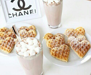 hot ​chocolate, white frames, and heart waffles image