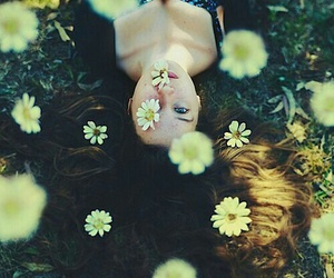 field, flowers, and woman image