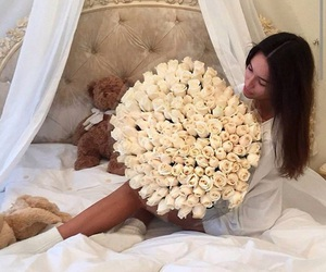 bed, flowers, and love image