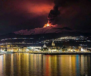 fire, italy, and etna image