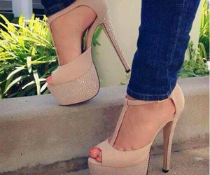 beige, sparkle, and high heels image