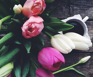coffee, flowers, and lovely image