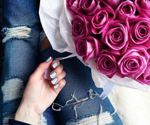 flowers, roses, and jeans image