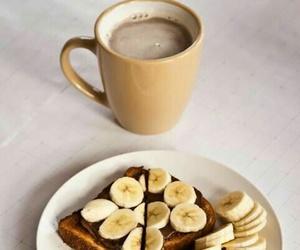 food, banana, and coffee image