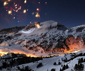 mountains, snow, and night image